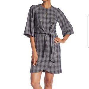 Tahari Charcoal Plaid Tie Front Dress